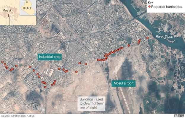 Aerial image showing IS barricades in Mosul