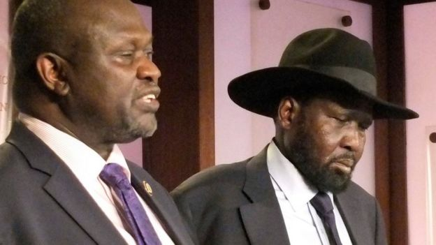 Riek Machar and Salva Kiir, on 8 July