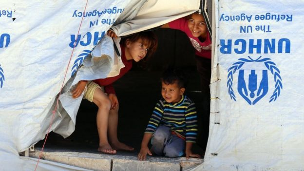 Refugees at the Zaatari Refugee Camp, in Jordan