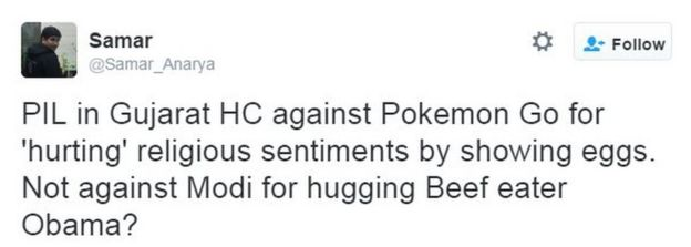 PIL in Gujarat HC against Pokemon Go for 'hurting' religious sentiments by showing eggs. Not against Modi for hugging Beef eater Obama?