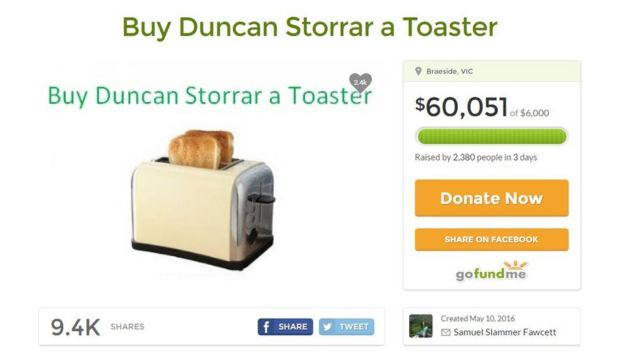 Screengrab shows GoFundMe page to buy Duncan Storrar a toaster