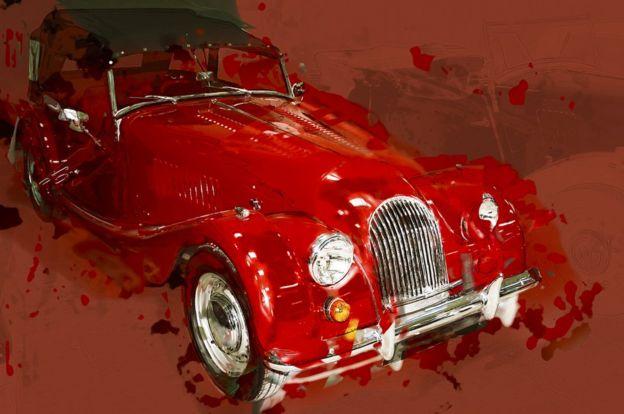 Pintura de auto clásico rojo.
