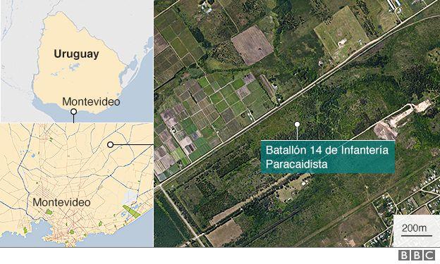 Mapa de Uruguay con la ubicación de la fosa común donde fueron hallados dos cuerpos.