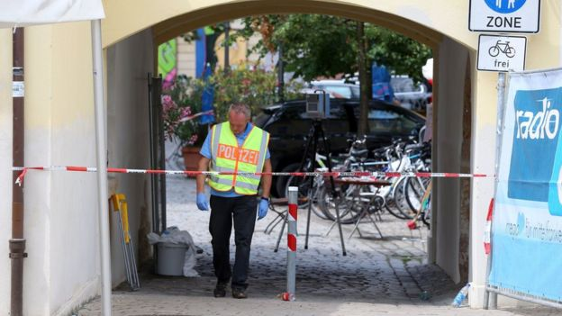 Police officer at scene of attack in Ansbach, Germany, on 25 July 2016