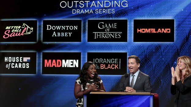 Uzo Aduba and Cat Deeley and Television Academy chairman and CEO Bruce Rosenbaum are pictured during the nomination