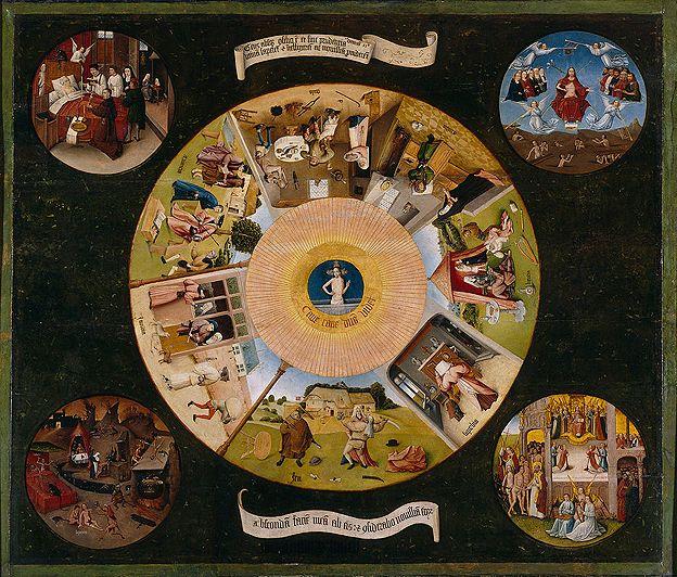 Mesa de los pecados capitales pintada por Jheronimus Bosch, el Bosco, circa 1505-1510