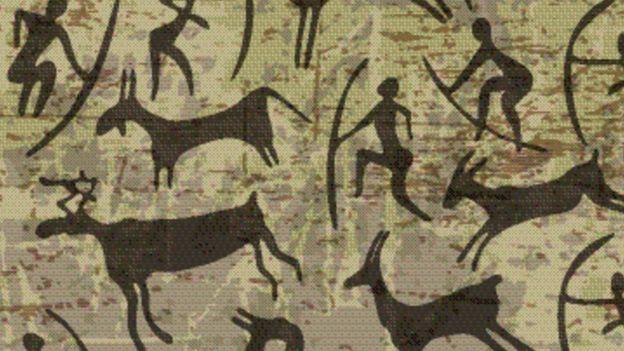 Pintura rupestre de personas cazando
