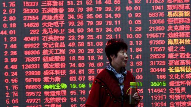 Pantalla que nuestra cifras del mercado bursátil en China