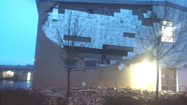 Damage at Oxgangs Primary School