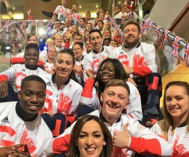 Sally Nugent and the athletes