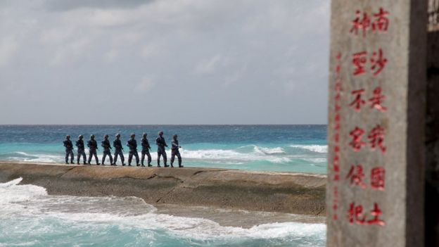 China PLA on an island in Spratly