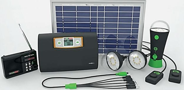 Solar kit including radio, torch, lamps and mobile phone charger