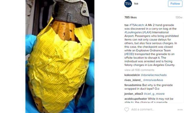 granada encontrada por la TSA