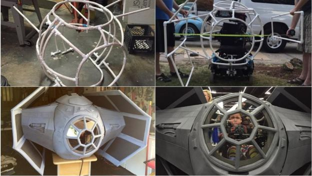 Four stages of the Tri-fighters being constructed