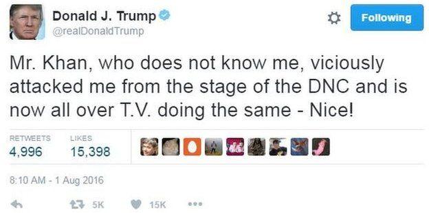 Donald Trump writes on Twitter: