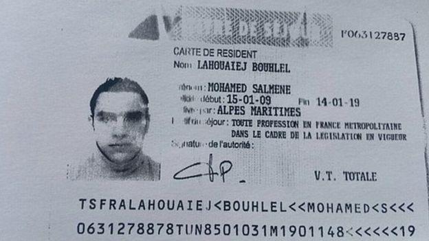 Documento de identidad del atacante de Niza