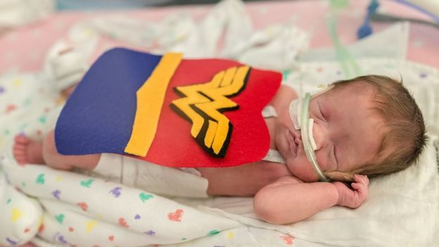 Baby in a Wonder Woman costume
