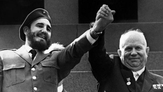Fidel Castro y Nikita Jruschov en Moscú