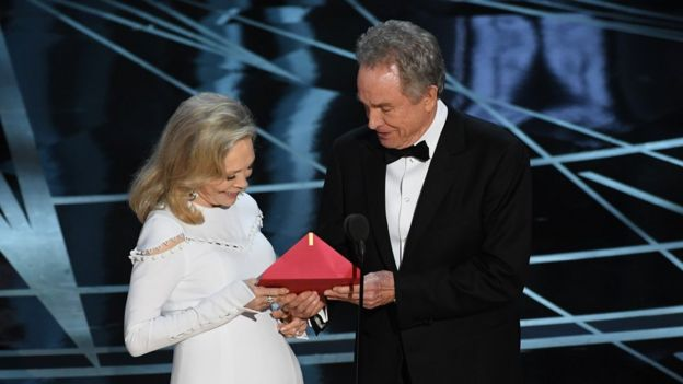 Faye Dunaway and Warren Beatty with the red envelope at the centre of the confusion
