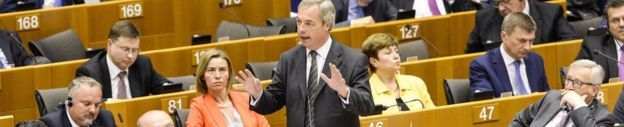 Nigel Farage (standing) in the European Parliament, 28 June