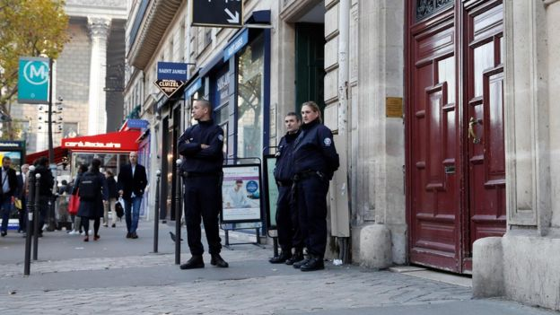 The exclusive hotel residence in Rue Tronchet where Kim Kardashian West was robbed near Place de la Madeleine in October
