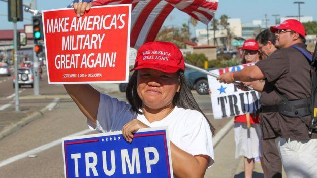 Apoiadores de Trump durante a campanha; para Marcos Liberato, que mora na Flórida, Trump fará bem aos estrangeiros