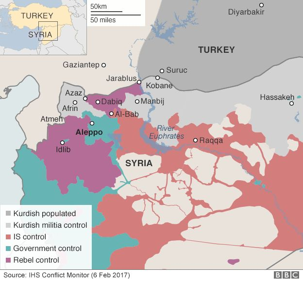 Map showing control of northern Syria (6 February 2017)