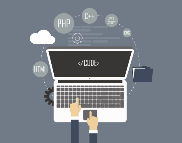 Ilustración de una computadora con líneas de código