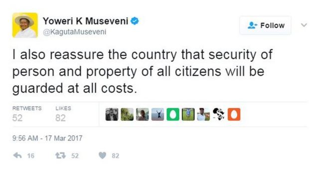 Tweet: I also reassure the country that security of person and property of all citizens will be guarded at all costs.