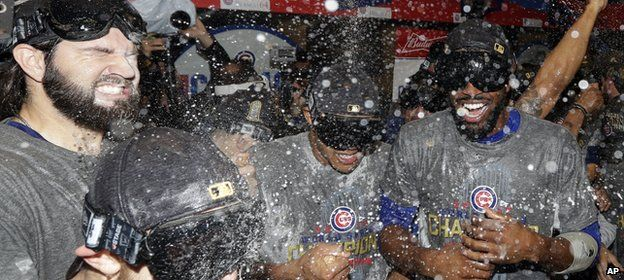 Victorious Cubs players celebrate their win