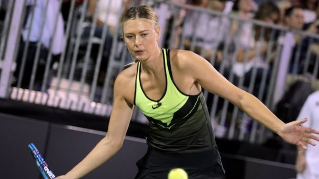 Maria Sharapova competes in the World TeamTennis Smash Hits charity tennis event benefiting the Elton John Aids Foundation at Caesars Palace (10 October 2016)