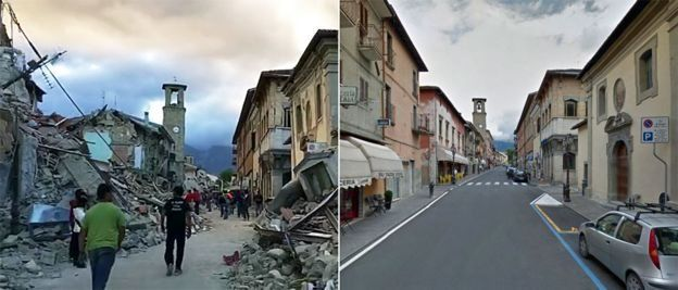 Imágenes de Amatrice antes y después del terremoto.