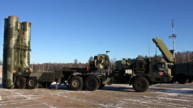 A new generation air defence system S-400 Triumf, also known as a SA-21 Growler, is pictured during exercises at the anti-aircraft defence military unit near Elektrostal, outside of Moscow