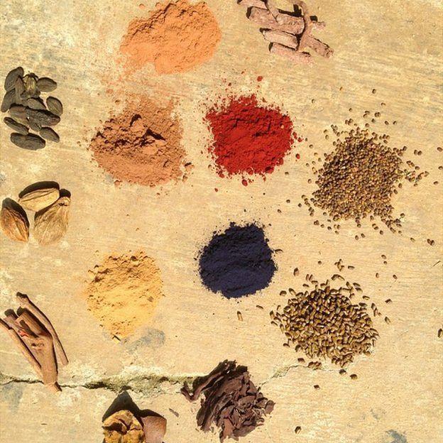 Semillas, tallos, arenas para hacer colores