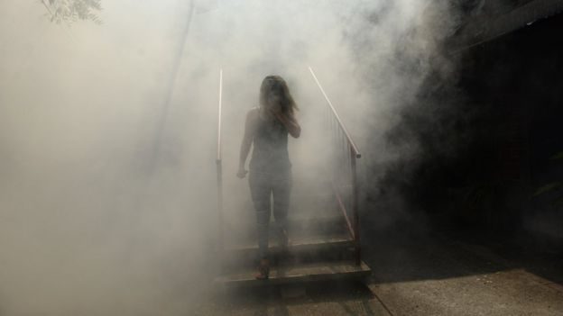 A woman walks through the fumes as fumigation against the Aedes aegypti mosquito to prevent the spread of the Zika virus happens