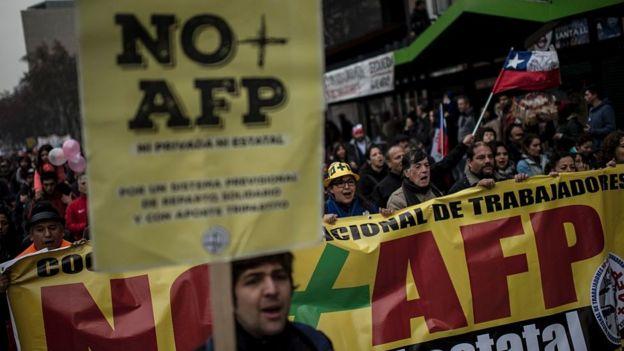 Protesta contra administradora de fondos de pensiones