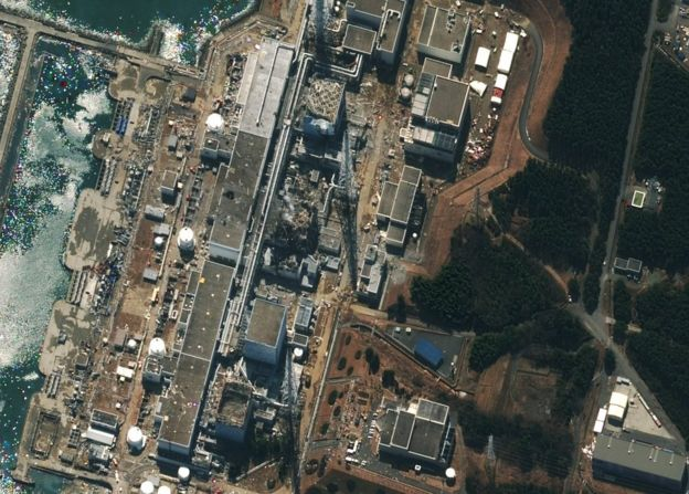 Damage after an earthquake and tsunami at Fukushima nuclear plant