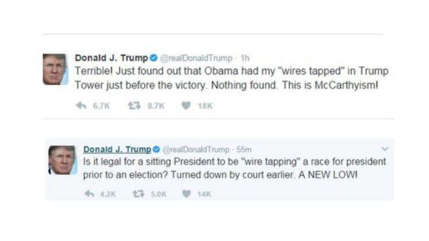 Ujumbe wa Twitter uliochapishwa na Trump