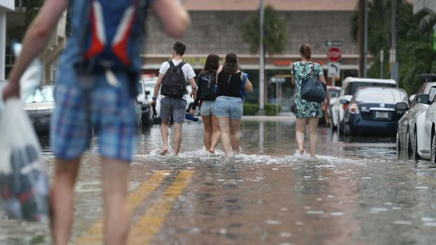 Flooded street on September 29, 2015 in Miami Beach, Florida