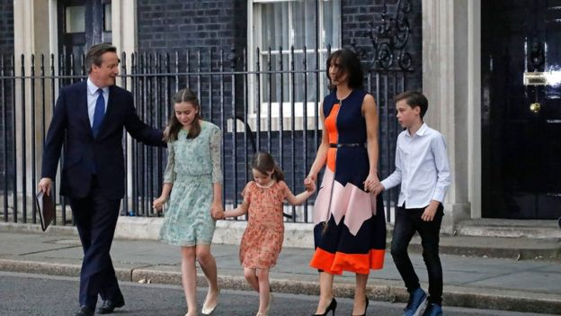 Mr Cameron was joined by wife Samantha and their children Nancy, Florence and Arthur Elwen