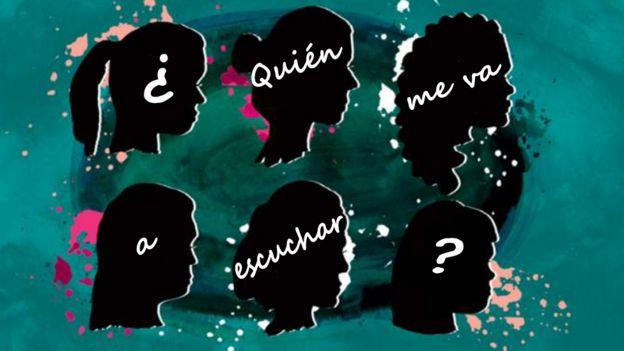 Siluetas de mujeres con las palabras ¿Quién me va a escuchar?