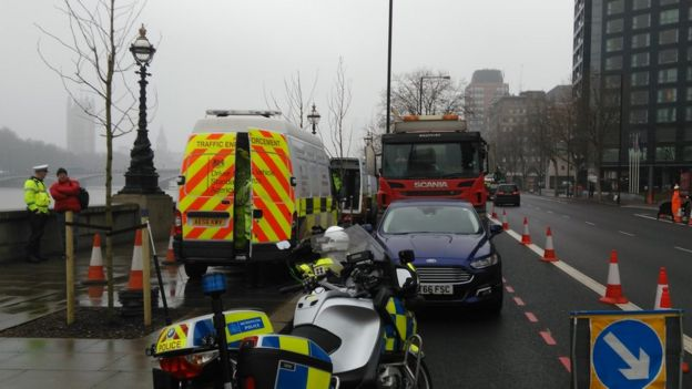 A roadside safety check in central London