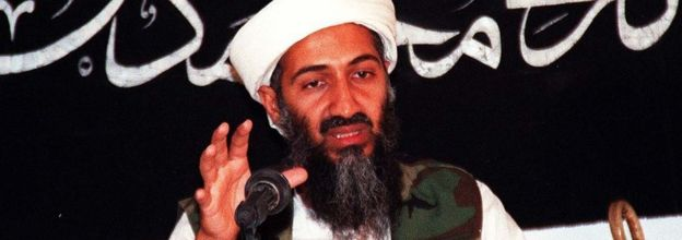 This undated file picture shows Saudi dissident Osama bin Ladin speaking at an undisclosed place inside Afghanistan.