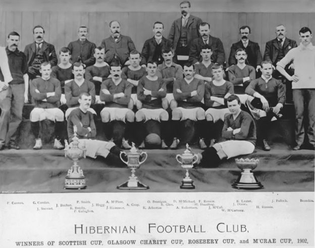 Bobby Atherton, captain of cup-winning Hibernian in 1902, in the front row centre with the ball