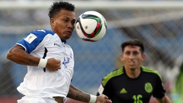 Arnold Peralta is seen in action in a World Cup qualifying match against Mexico
