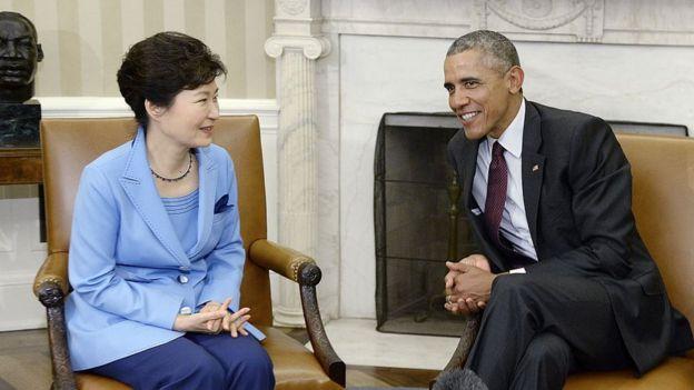 La presidenta de Coreal del Sur Park y el presidente de EE.UU., Barack OBama.