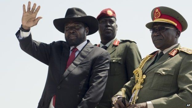 President Salva Kiir (left)