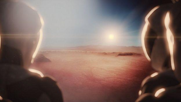 Imagen artística de humanos en Marte
