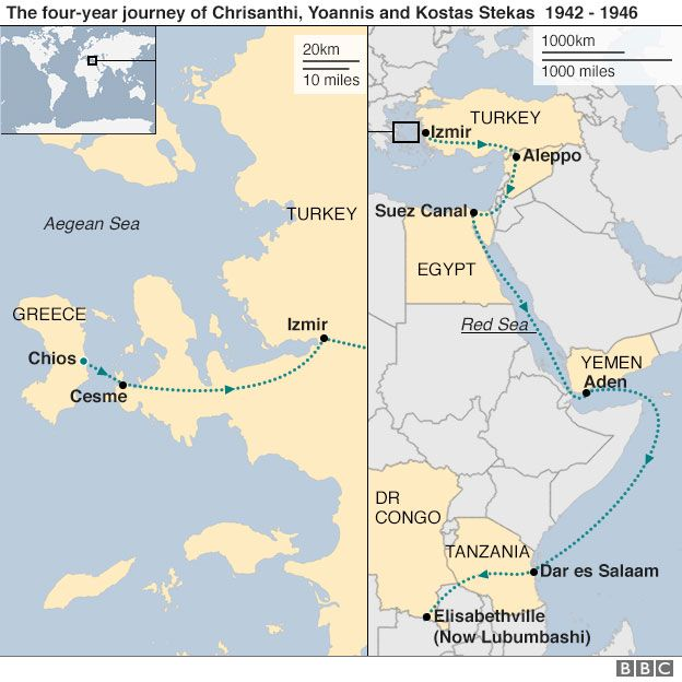 Greek refugee journey - map