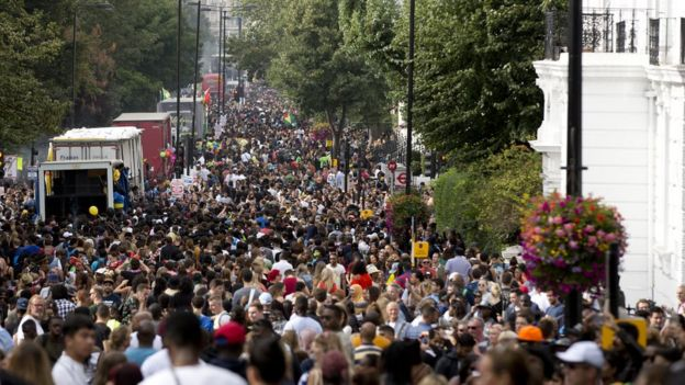 The crowd in Ladbrook Grove during the Children's Day Parade